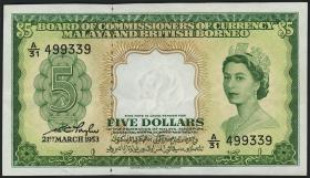 Malaya & British Borneo P.02a 5 Dollars 1953 (2)