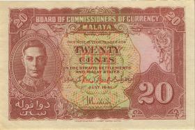 Malaya P.09a 20 Cents 1941 (2+)