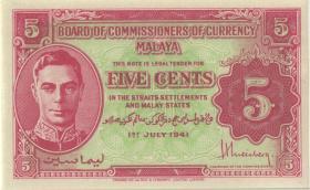 Malaya P.07b 5 Cents 1941 (1)