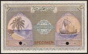 Malediven / Maldives P.03as 2 Rupien 1947 Specimen (1)