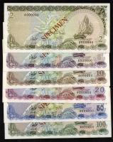 Malediven / Maldives P.09s-14s 2-100 Rufiyaa 1983 Specimen (1)
