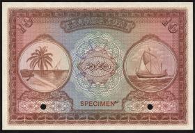 Malediven / Maldives P.05s 10 Rupien (no date) Specimen (1)