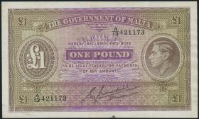 Malta P.20b 1 Pound (1943) (3+)