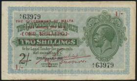 Malta P.15 1 Shilling auf 2 Shillings (1940) (3)