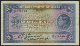 Malta P.13 10 Shillings 13.9.1939 (3)