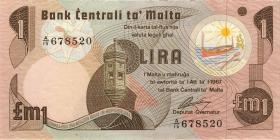 Malta P.34b 1 Lira 1967 (1979) (2)