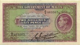 Malta P.18 2 Shillings / 6 Pence (1940) (3+)