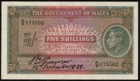 Malta P.12 5 Shillings 13.9.1939 (2)