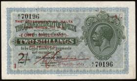 Malta P.15 1 Shilling auf 2 Shillings (1940) (1)
