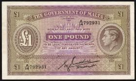 Malta P.20b 1 Pound (1943) (1/1-)