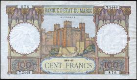 Marokko / Morocco P.20 100 Francs 1947 (3)