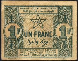 Marokko / Morocco P.42 1 Francs 1944 (3)