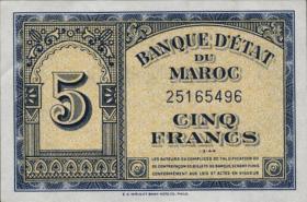 Marokko / Morocco P.24 5 Francs 1944 (1/1-)
