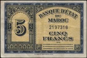 Marokko / Morocco P.24 5 Francs 1944 (3+)