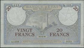 Marokko / Morocco P.18b 20 Francs 1941 (3+)