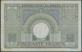 Marokko / Morocco P.21 50 Francs 1945 (3)
