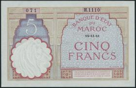 Marokko / Morocco P.23Ab 5 Francs 1941 (2)