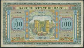 Marokko / Morocco P.27 100 Francs 1943 (3)