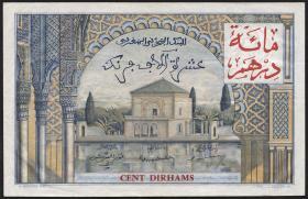 Marokko / Morocco P.52 100 Dirhams auf 10000 Francs o.J. (3+)