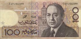 Marokko / Morocco P.62a 100 Dirhams 1987 (3+)