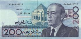 Marokko / Morocco P.66a 200 Dirhams 1987 (1)