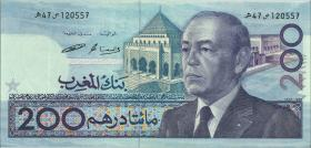 Marokko / Morocco P.66c 200 Dirhams 1987 (1)
