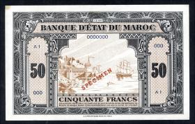Marokko / Morocco P.26s 50 Francs 1943 Specimen (1/1-)