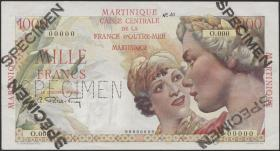 Martinique P.33s 1000 Francs (1947-49) Specimen (1)