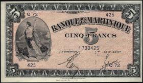 Martinique P.16b 5 Francs (1942) (1)