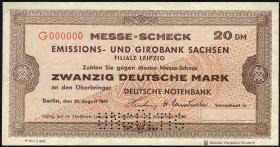 Leipziger Messe Scheck 20 DM 1949 Muster 1)
