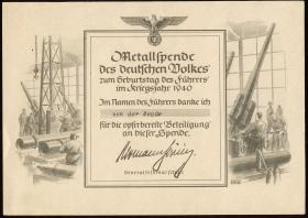 Metallspende des deutschen Volkes 1940 (1-)