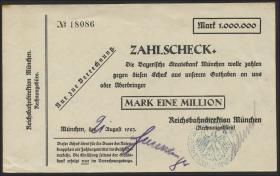 MG148.05b RBD München 1 Million Mark 1923 (3+)