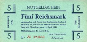Miltenberg Notgeld 5 Reichsmark 1945 (1)