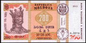 Moldawien / Moldova P.20 200 Lei 2013 Gedenkbanknote ohne Folder (1)