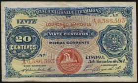 Mozambique P.060 20 Centavos 1914 (3+)