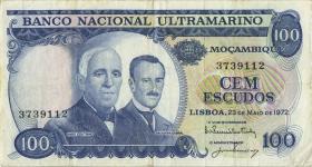 Mozambique P.113 100 Escudos 1972 (3)