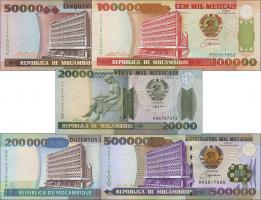 Mozambique P.138-142 20.000-500.000 Meticais 1993-2003 (1)