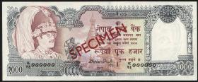 Nepal P.36cs2 1000 Rupien (1981-) Specimen (1)