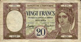 Neu Kaledonien / New Caledonia P.37b 20 Francs (1929) (3)