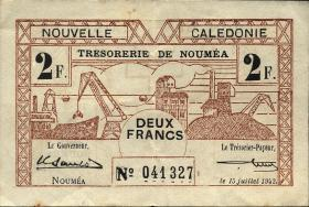 Neu Kaledonien / New Caledonia P.53 2 Francs 1942 (3+)