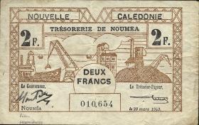 Neu Kaledonien / New Caledonia P.56 2 Francs 1943 (3+)