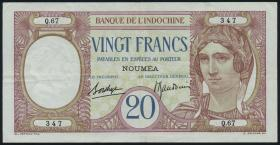 Neu Kaledonien / New Caledonia P.37b 20 Francs (1929) (3+)
