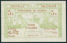 Neu Kaledonien / New Caledonia P.58 5 Francs 1943 (1-)