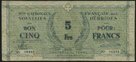 Neue Hebriden / New Hebrides P.01 5 Francs (1943) (4)