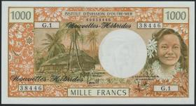 Neue Hebriden / New Hebrides  P.20a 1000 Francs (1970) (1)