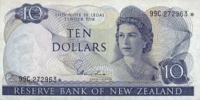 Neuseeland / New Zealand P.166d 10 Dollars (1967-81) (3+)
