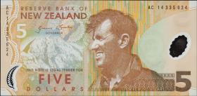 Neuseeland / New Zealand P.185c 5 Dollars (2014) Polymer (1)