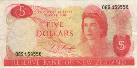 Neuseeland / New Zealand P.165c 5 Dollars (1975-77) (3)