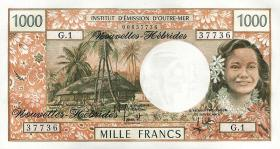 Neue Hebriden / New Hebrides  P.20b 1000 Francs (1975) (1)
