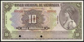 Nicaragua P.094cs2 10 Cordoba 1951 Specimen (1)